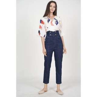 MDS Buttoned High Waist Pants in Denim