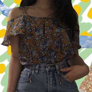 topshop floral shoulder tie top