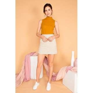 BETHANY CHECKERED SKIRT IN SAND