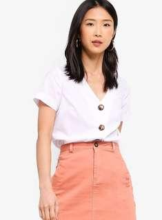 Zalora V Neck Top With Contrast Buttons