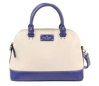 Small Rachelle Wellesley Ivory Blue Leather Satchel