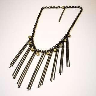 PRE💙D Black Metal Multi Chain Dangle Statement Necklace With Rhinestone Crystals