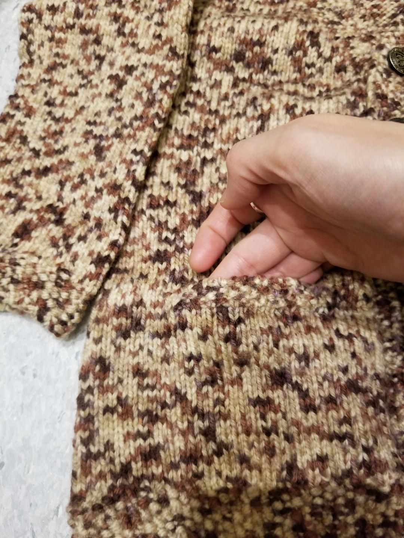 啡色小童冷衫 外套 手織