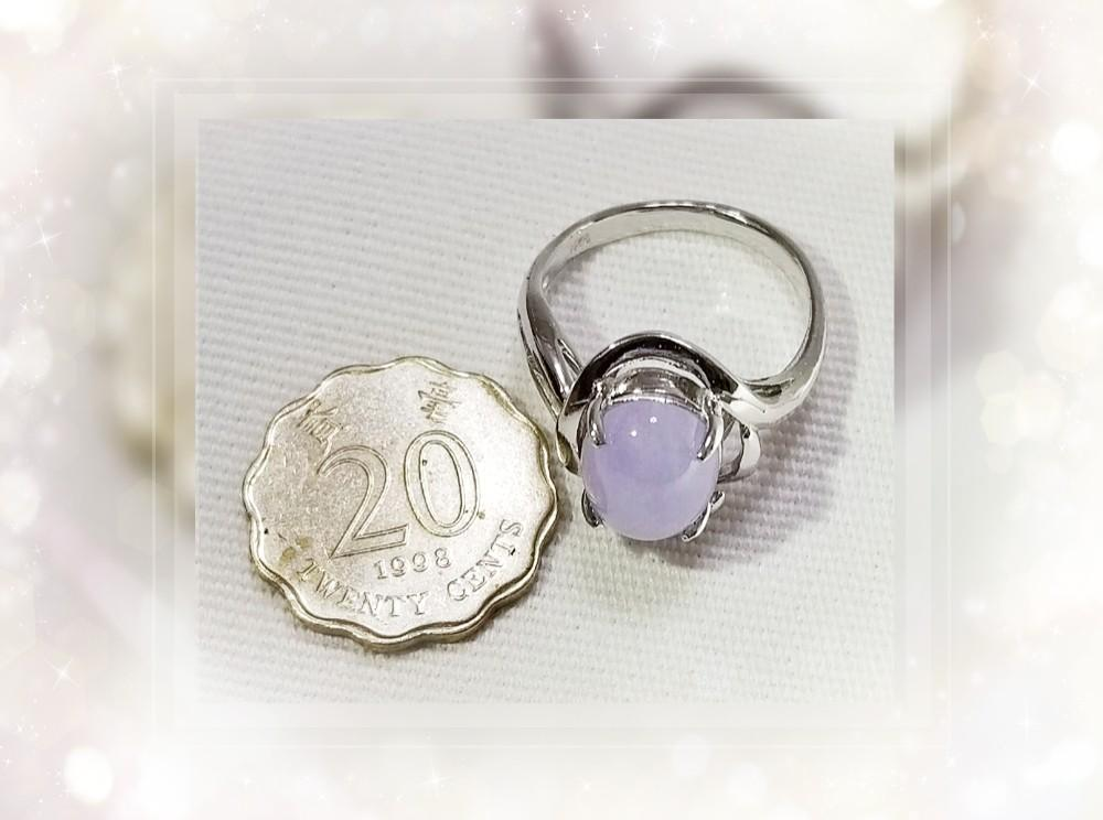 天然A貨 緬甸硬玉 紫蘿蘭翡翠 18K白金電鍍 925 純銀戒指一隻 JR-19 * HK Size: #10