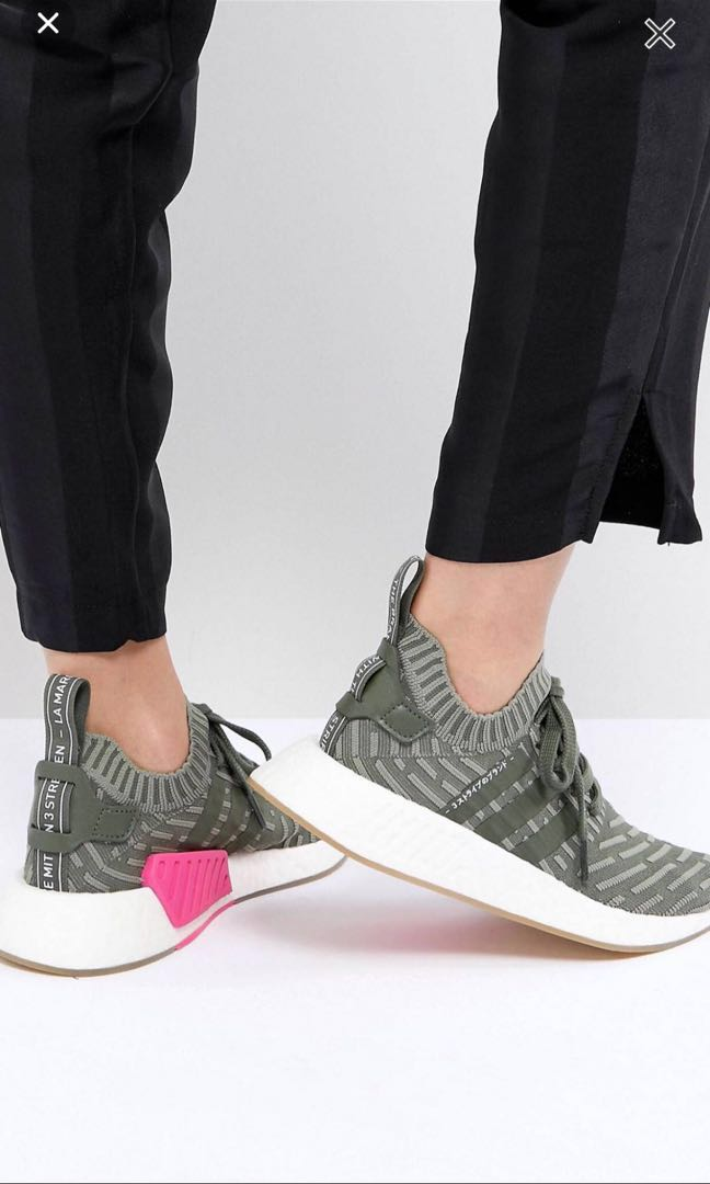 8e33d64e5 Adidas original nmd r2 knit in green women olive pink