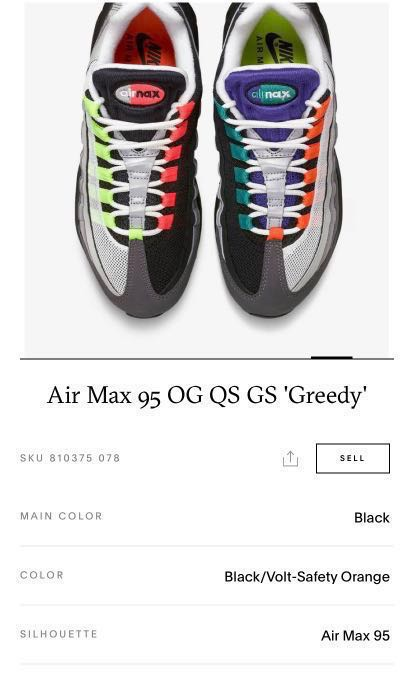 the latest b4d44 2ae61 Air Max 95 OG QS GS Greedy, Men's Fashion, Footwear, Sneakers on ...