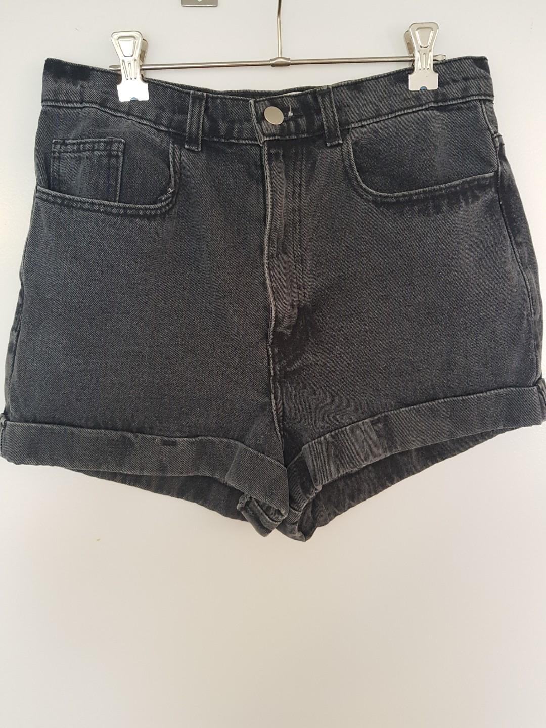 American Apparel high waist denim shorts. Washed black/grey.