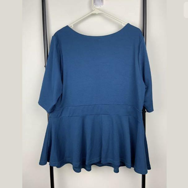 Autograph 18 blue greenish women peplum top shirt tunic casual plus size basic