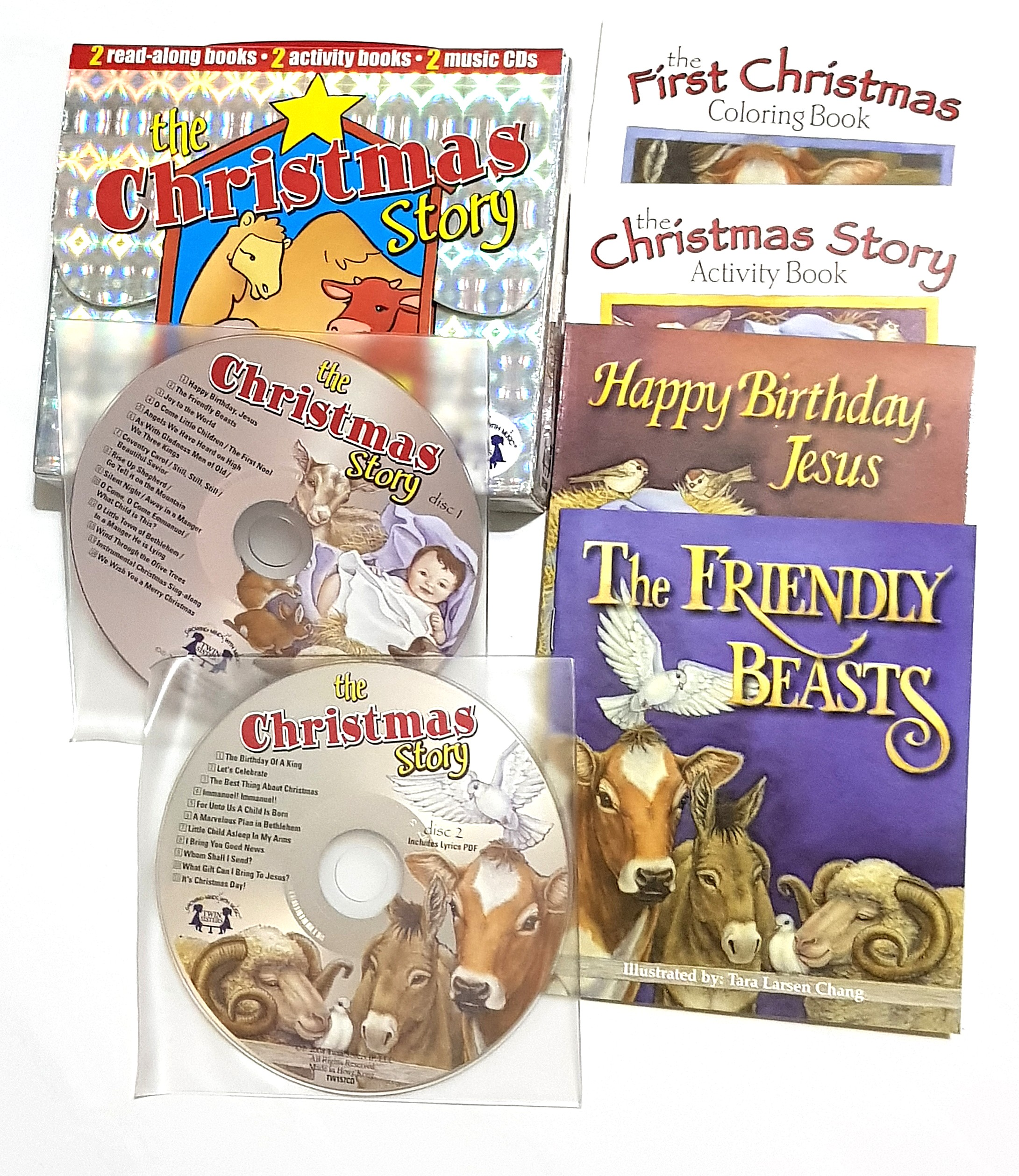Christmas Story 2.Brand New 2 Music Cds Christmas Story 2 Read Along Books 2 Activity Books Twin Sisters