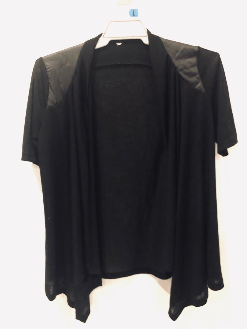 CLEAROUT SALE Short sleeve cardigan with pleather panels