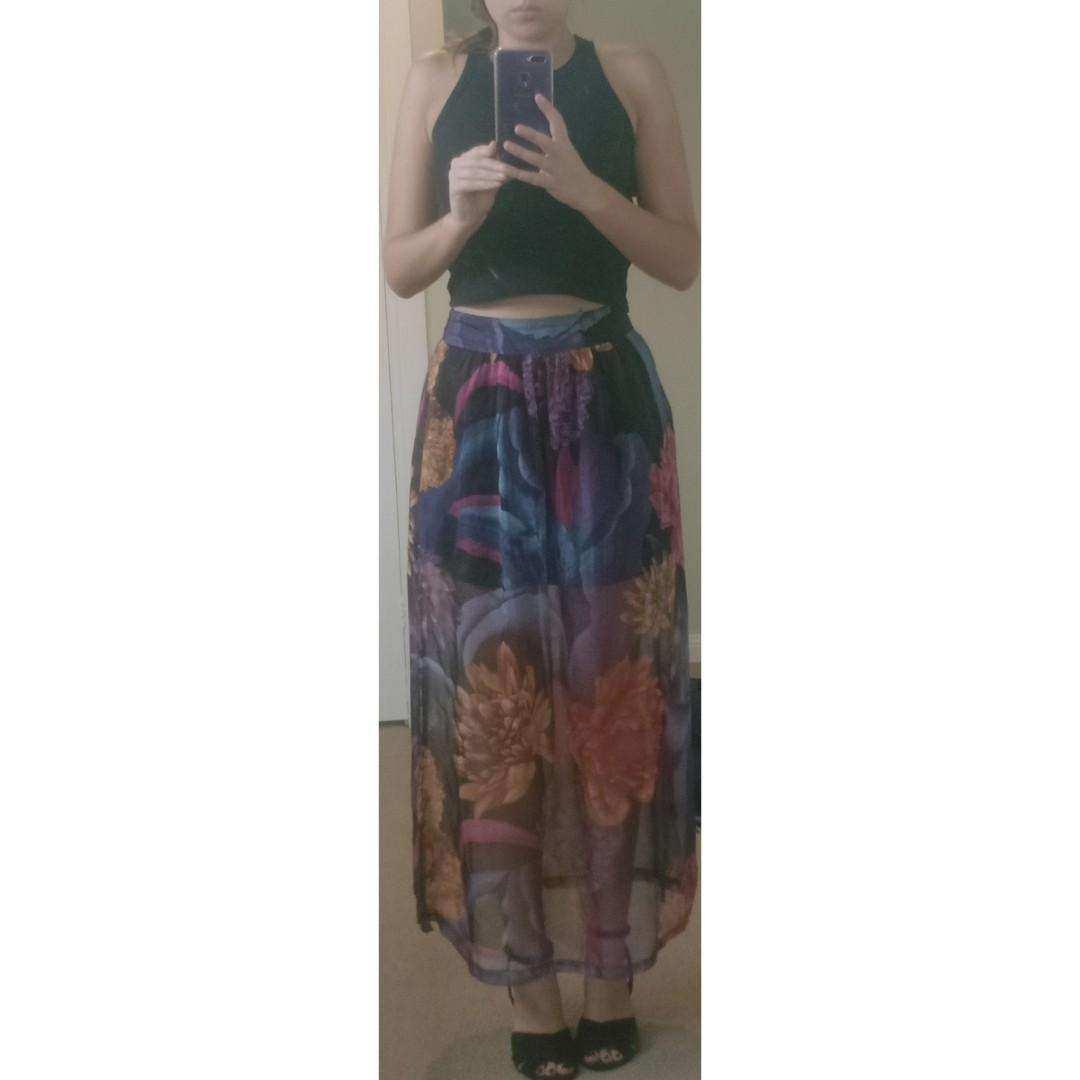 COLOURFUL mini skirt with long sheer overlay SIZE 10