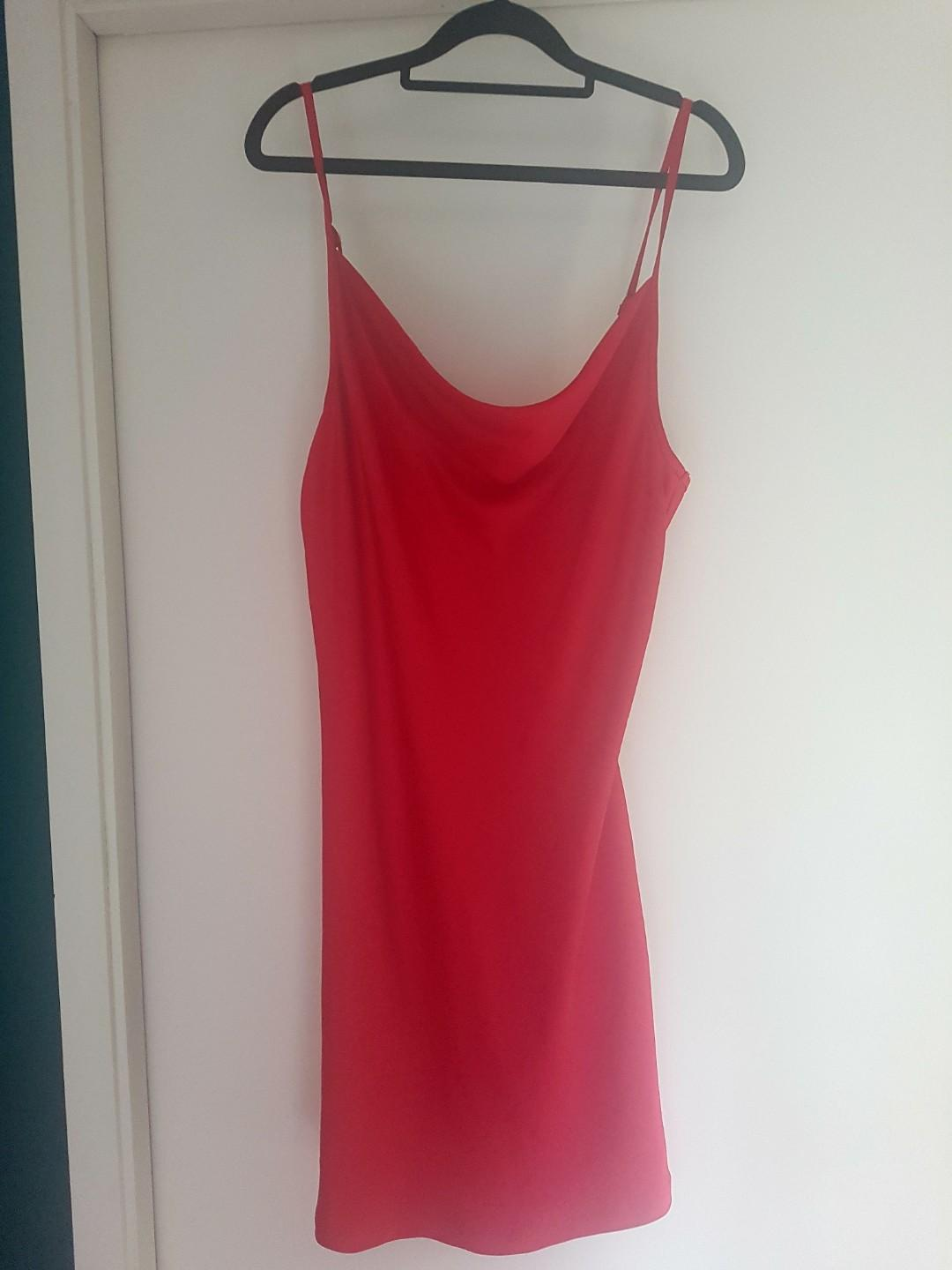 2× Dotti Satin cowl neck middy dress (red and black)