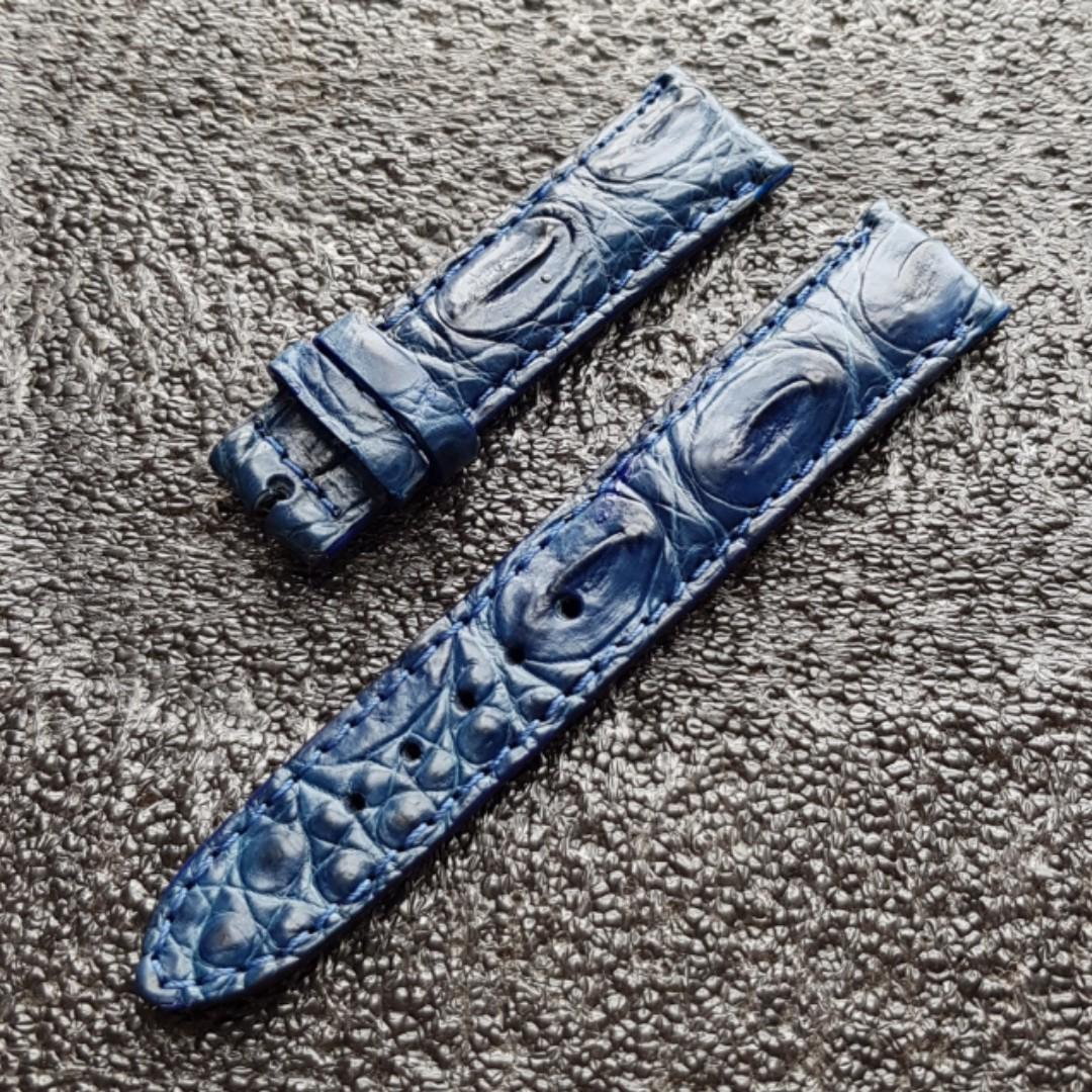 Genuine Crocodile Hornback 20mm watch strap Royal Blue for Rolex Omega JLC Grand Seiko Daniel Wellington Hypergrand etc