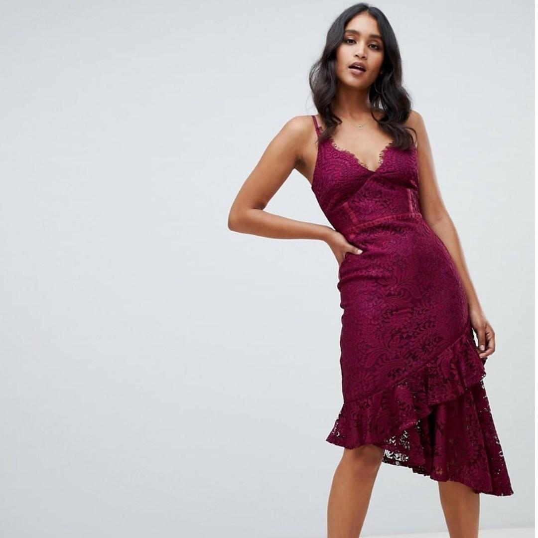 BNWT Lipsy Lace Asymmetric Hem Cami Bodycon Dress in Purple SIZE 8