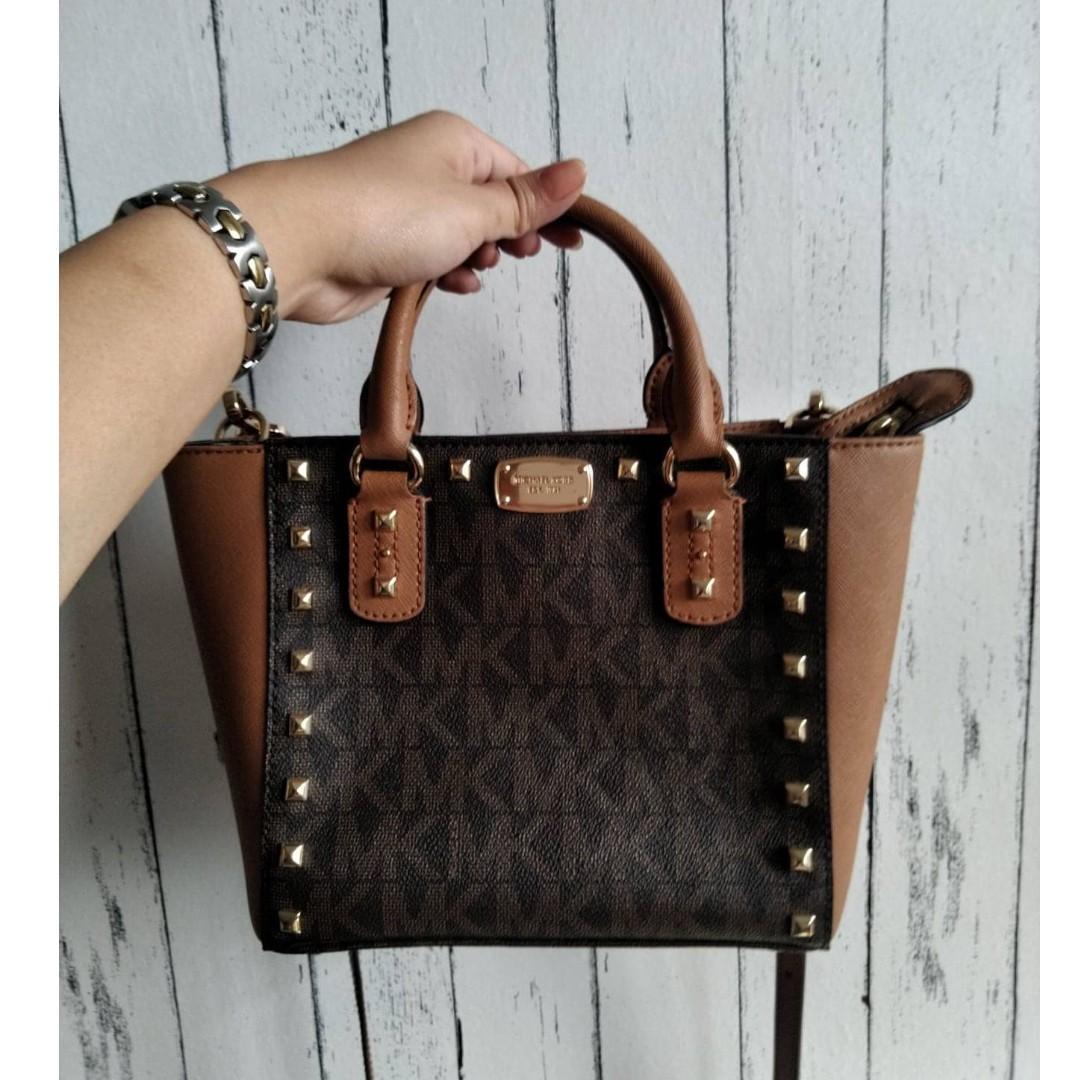 exquisite craftsmanship hoard as a rare commodity deft design Michael Kors Saffiano Sandrine Stud Small Crossbody Bag on ...