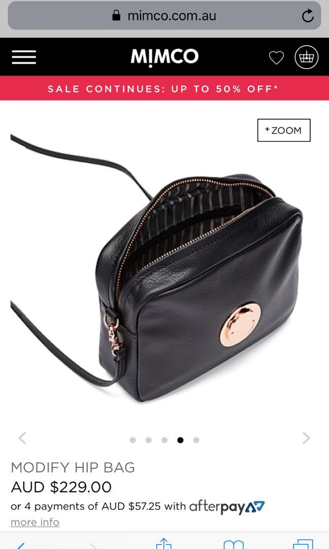 Mimco modify side bag black and rose gold