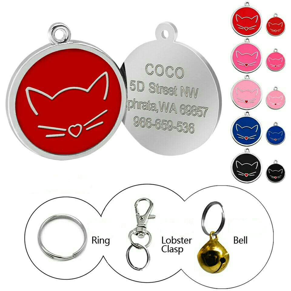 baff1ed31af9 Pre-Order] Personalized Cat Dog ID Tag, Pet Supplies, For Cats, Cat ...