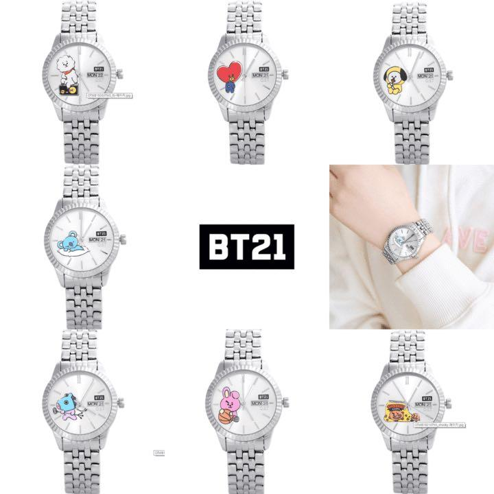 [Purchase from Korea) BT21 x OST OFFICIAL 3.3cm Silver Watch ( DESIGNED BY BTS )