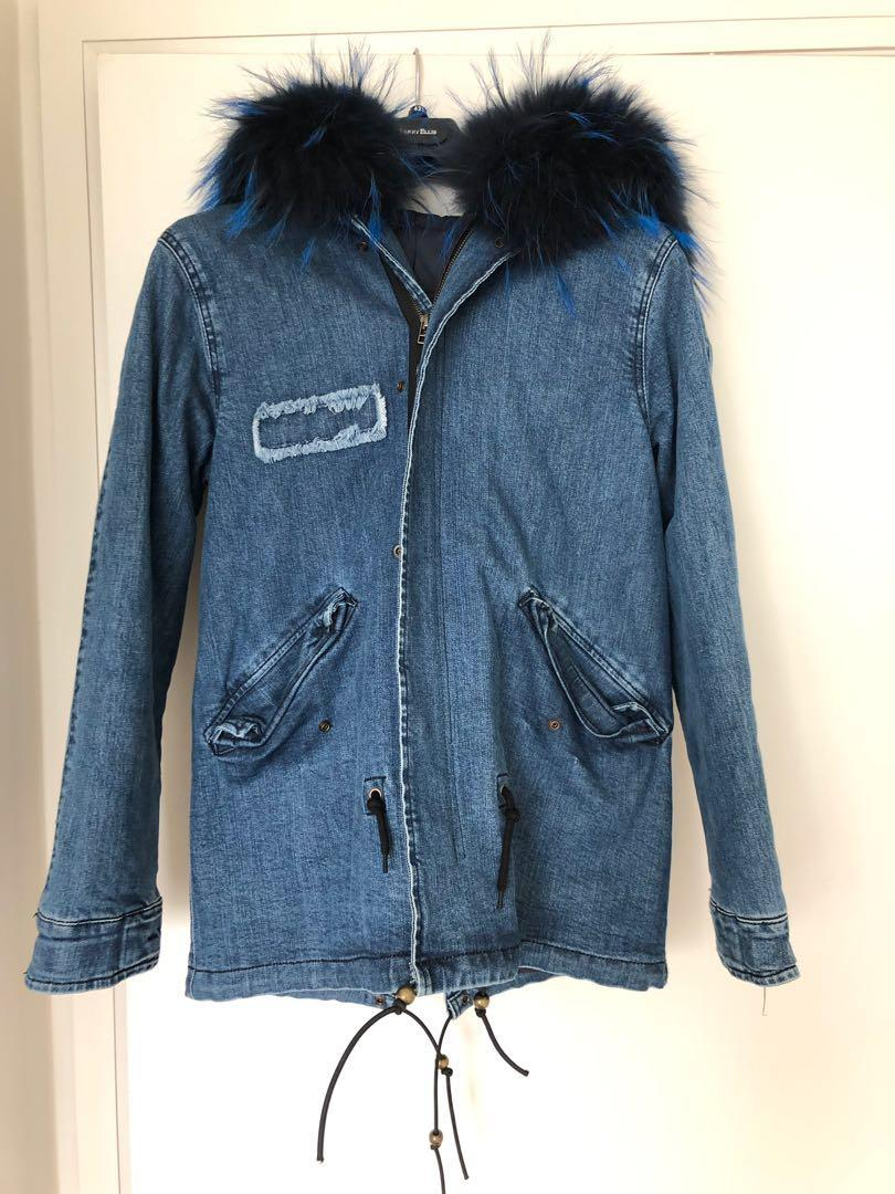 Real Fur Denim ParkaJacket very good condition size m