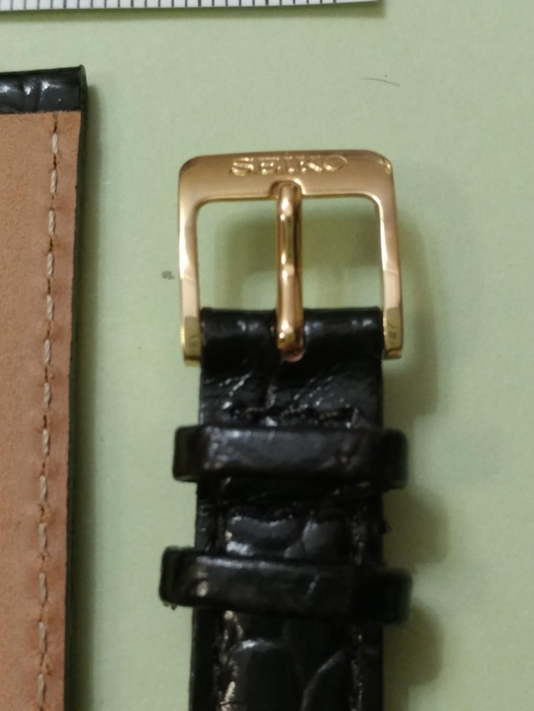 SEIKO 精工14mm 女裝壓紋黑包皮錶帯