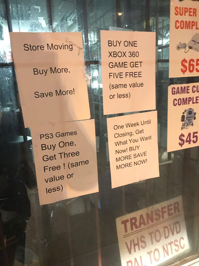 Video game blowout sale and assorted store fixtures