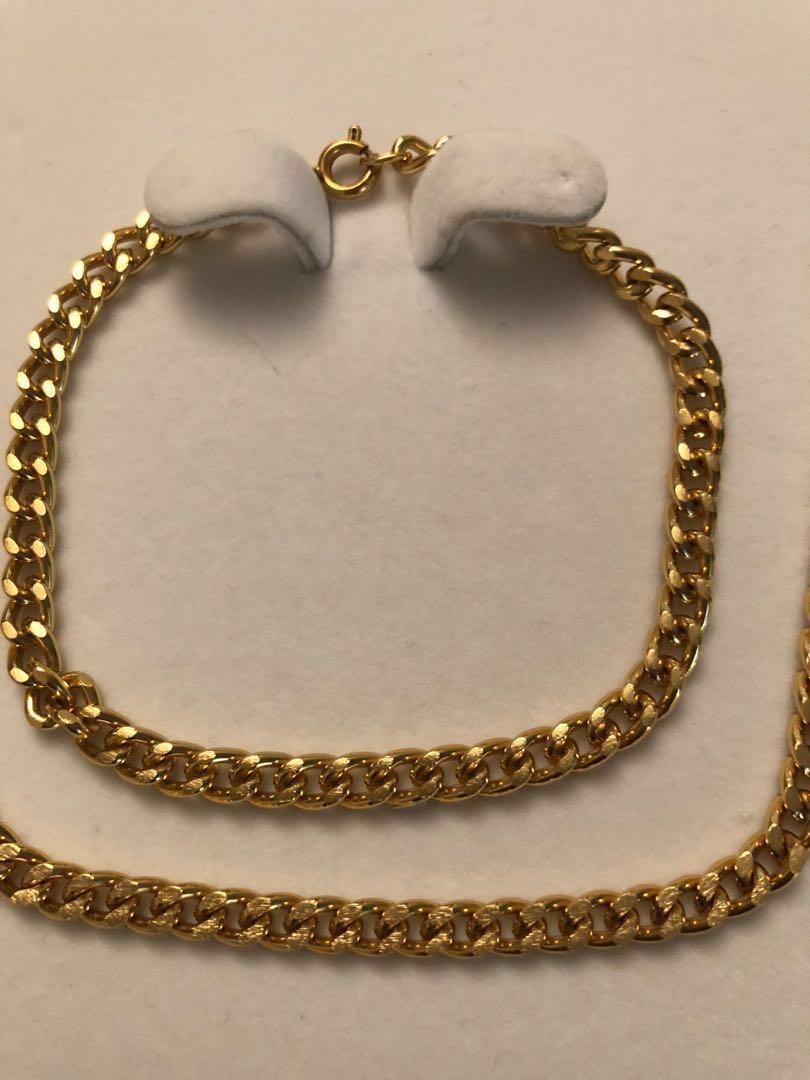 Vintage gold plated over silver chain & matching bracelet