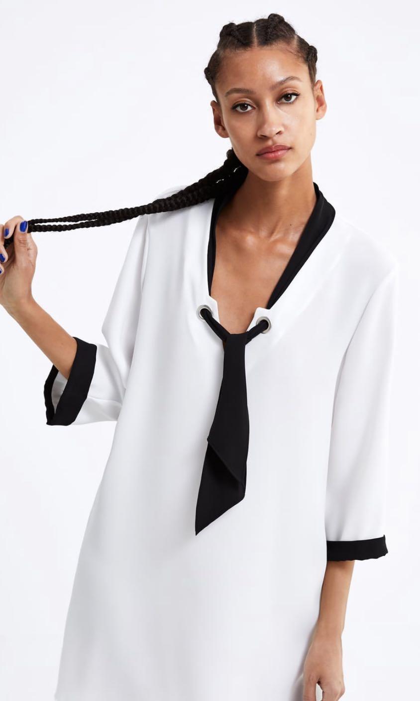 Zara dress with contrast ribbon