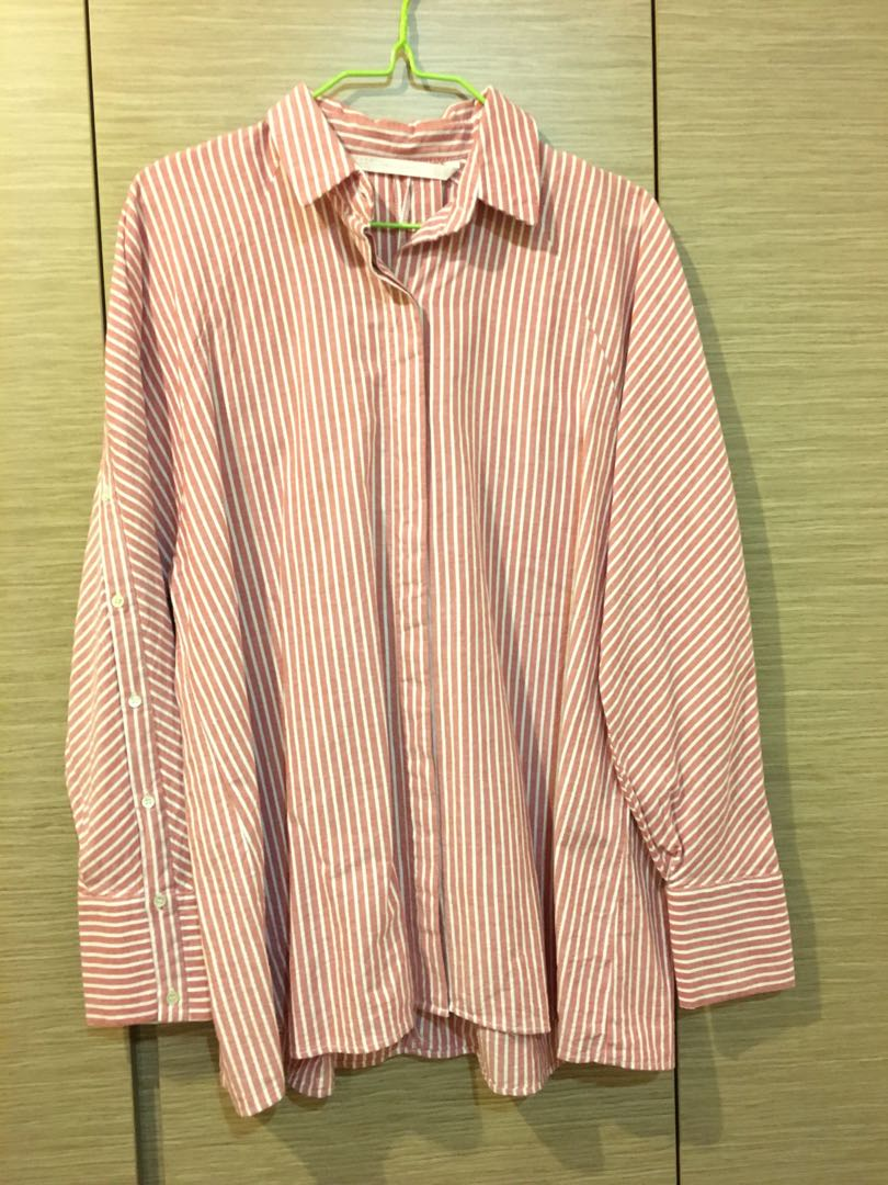 54436bb2 Zara Trafaluc Collection - Oversized Red White Striped Long Sleeve ...