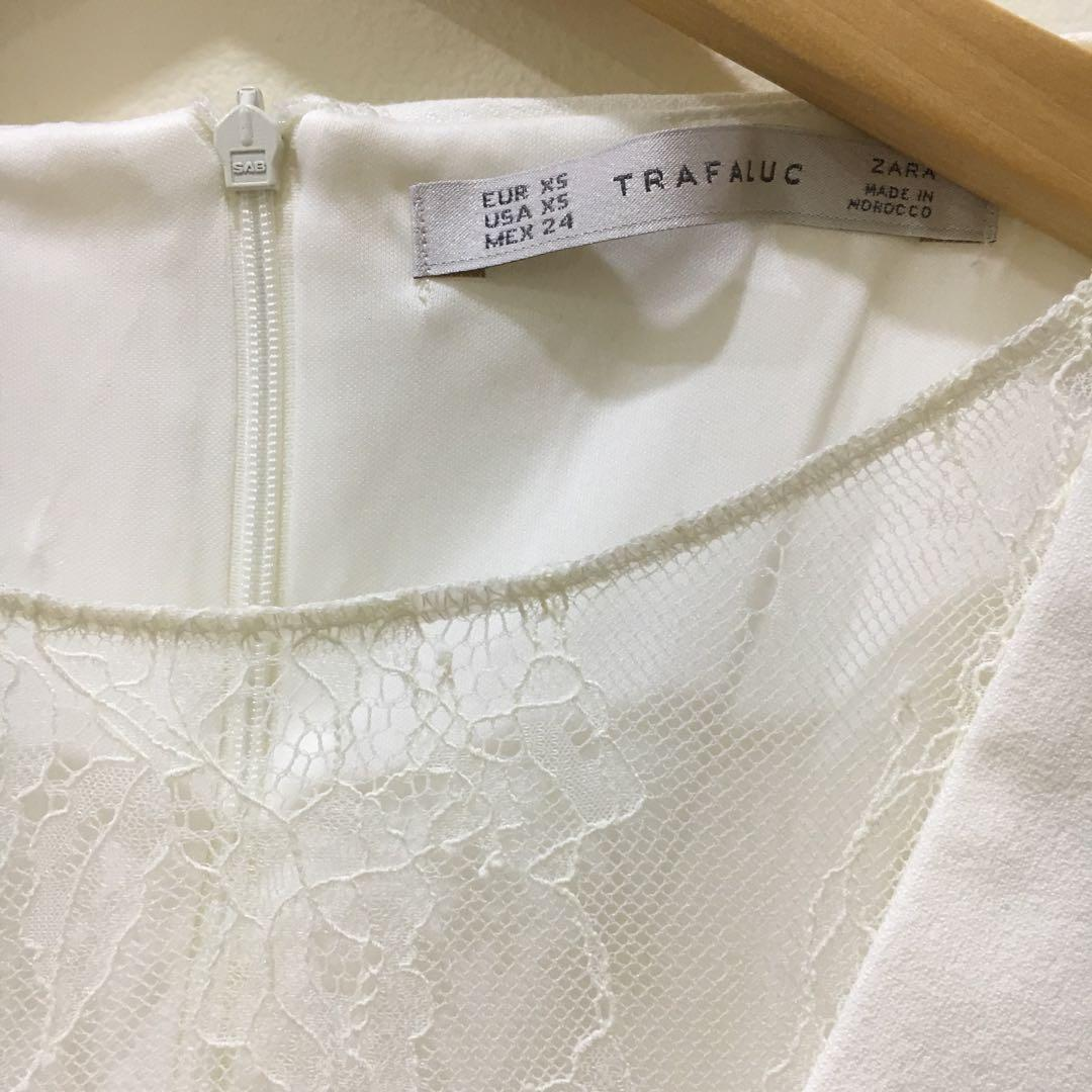 Zara White Dress front lace