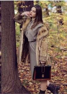 100% real fur/ leather coat