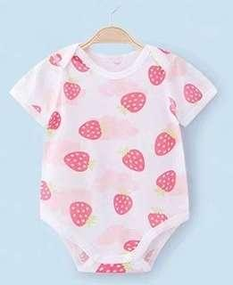 🚚 [Pre-order] Soft airy mesh cotton baby romper clothes cool strawberry