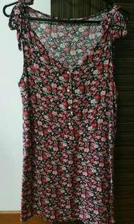 Preloved Long Flowery Blouse, Size M