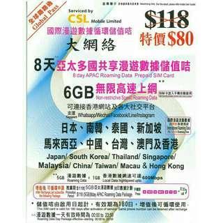 CSL 新推出「全球路路通」儲值卡,提供 8 日亞太多國共享 4G 漫遊數據,覆蓋目的地包括:日本、南韓、泰國、新加坡、馬來西亞、中國、台灣、澳門及香港,性質與熱賣嘅 AIS Sim2Fly 相似。即將去旅行要買旅遊 SIM 的朋友,可在 CSL 及 AIS Sim2Fly 兩者之間慢慢比較一番!  留意,CSL 張卡封面寫住嘅係 6GB 無限高速上網,英文為「Non-restrictive Speed