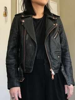 Club Monaco Leather Jacket with Rose Gold, Size XS