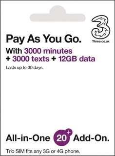 3UK 上網卡 一個月12GB數據 全球70多國通用  4G/3G