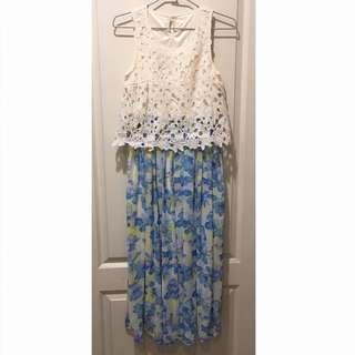 日本 ingni品牌 蕾絲碎花長洋裝