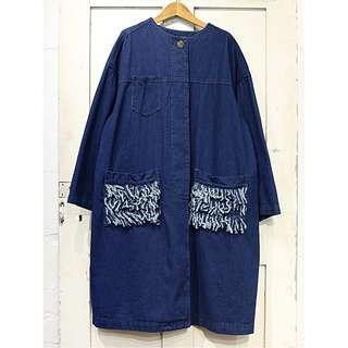 日本Rivet & Surge品牌 牛仔流蘇外套-深藍色款