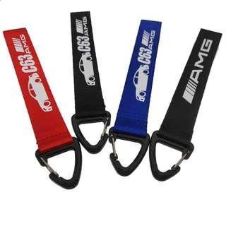 Hella Flush style AMG ///M C63 -Nylon Belt Car Keychain Auto Key Ring Black Wrist Lanyard Motorcycle Key Holder Metal for Car key strap Accessories
