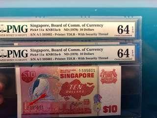 $10 Bird Series A1 First Prefix Pair PMG 64EPQ