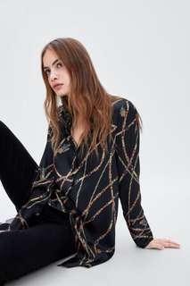 Zara Trafaluc Chain & Tassel Silk Print Blouse