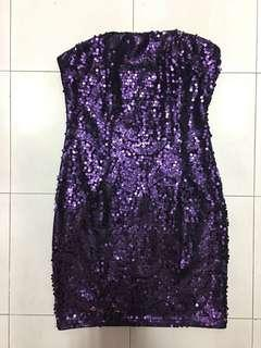 Purple sequined tube cocktail dress