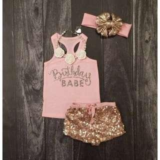🚚 BIRTHDAY BABY OUTFIT!! SHINY SEQUIN PANTS+TOP Set!