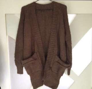 毛海開襟外套 罩衫 可可棕