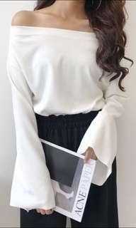 Off shoulder bell sleeve white top