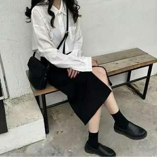 黑色西裝裙A字裙半身長裙#半價衣服拍賣會