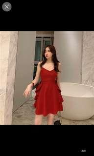 🚚 Red flare mini dress with  mini wave bottom