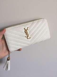 YSL white wallet