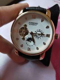 🚚 Junming 日月星辰玫瑰金前後鏤空國王機械錶