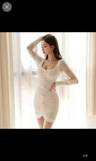 🚚 White pure lace bodycon mini dress