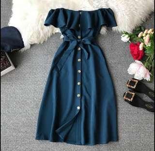 Price Reduced - Elegant Off Blue Shoulder Long Dress (Free Size) CNY SPECIAL